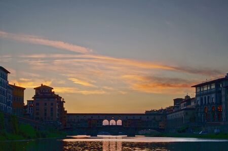 ponte: Ponte Vecchio at sunset Florence Italy