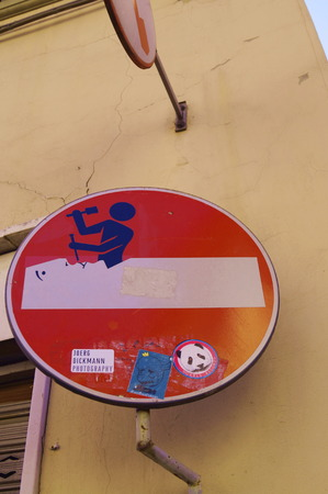changed: Road sign changed in Florence Italy
