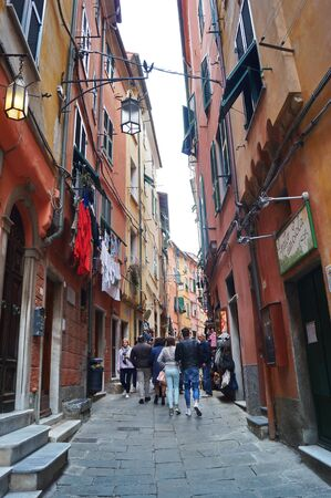cinque: Street of Portovenere, Cinque Terre, Liguria, Italy Editorial