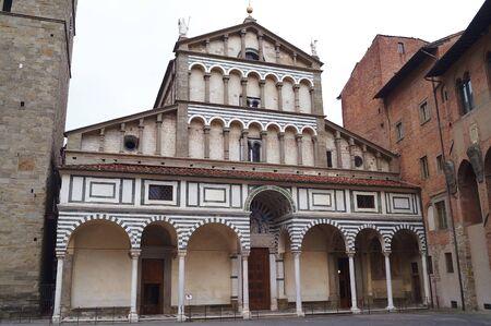 sain: Facade of the Cathedral of Sain Zeno, Pistoia, Italy Stock Photo