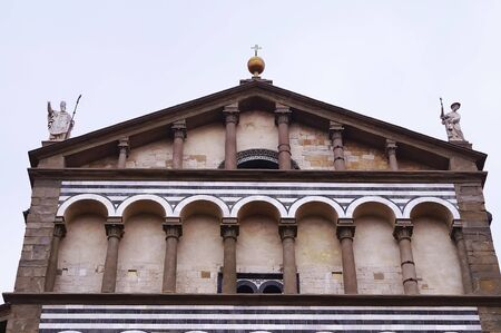 sain: Detail of the facade of the Cathedral of Sain Zeno, Pistoia, Italy Stock Photo