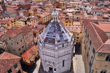 Aerial view of the Baptistery of Pistoia, Tuscany, Italy