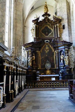 christian altar: nterior of Saint Barbara church, Kutna Hora, Czech republic Editorial