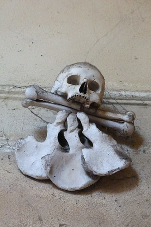 unearthly: Skull and bones in the ossuary of Sedlec, Kutna Hora, Czech Republic