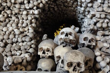 grisly: Skull and bones in the ossuary of Sedlec, Kutna Hora, Czech Republic