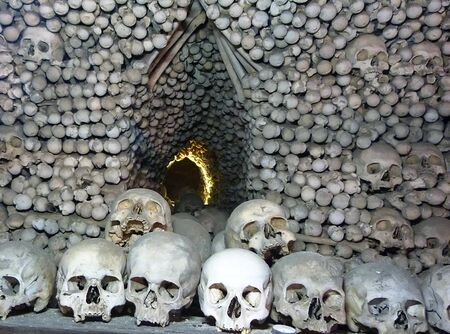 Skull and bones in the ossuary of Sedlec, Kutna Hora, Czech Republic