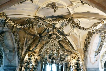 ghoulish: Skull and bones in the ossuary of Sedlec, Kutna Hora, Czech Republic