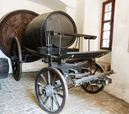 brew house: Carriage with barrel of beer in Pilsen, Czech Republic