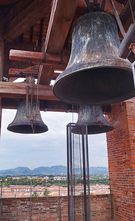 chiming: Bells in the Clock Tower of Lucca, Tuscany, Italy Stock Photo