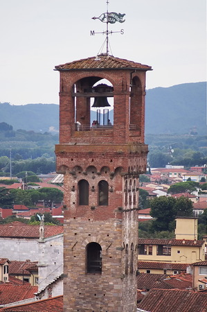 ancient pass: Clock tower, Lucca, Tuscany, Italy