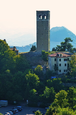 emilia romagna: Tower in the center of San Leo, Emilia Romagna, Italy