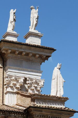 urbino: Detail of the cathedral of Urbino, Marche, Italy Stock Photo