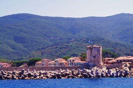 leghorn: View of Marciana Marina from the sea, Elba Island, Tuscany, Italy