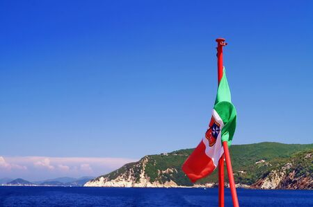 leghorn: View of the northern coastline from the sea, Elba Island, Tuscany, Italy