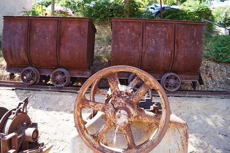 elba: Old machinery of the mines of the Island of Elba in Capoliveri, Elba, Italy