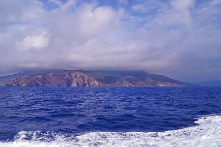 elba: Elba Island from the ferry, Tuscany, Italy Stock Photo