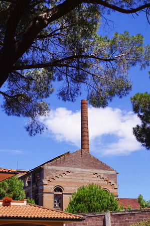 Abandoned sugar factory in Cecina, Tuscany, Italy Stock Photo