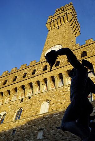 Perseus with the Head of Medusa in Loggia dei Lanzi, Signoria square, Florence, Italy