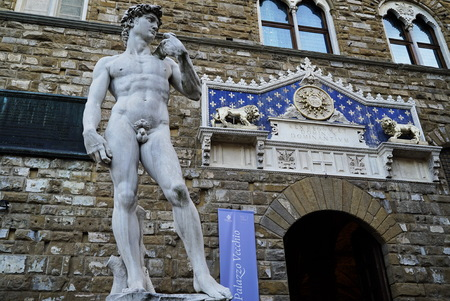 michelangelo: Copy of David of Michelangelo in front of Palazzo Vecchio, Florence, Italy Editorial