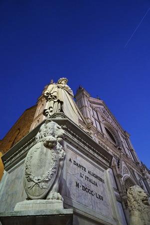 dante alighieri: Statue of Dante Alighieri, in Santa Croce square at night, Florence, Italy