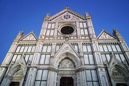Facade of Santa Croce basilica at night, Florence, Italy
