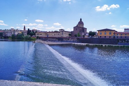 weir: The Arno River in Florence, Santa Rosa weir, Italy
