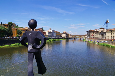 Ponte Vecchio seen from Ponte alle Grazie, Florence, Italy Stock Photo