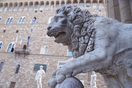 Lion of Vacca, Loggia dei Lanzi, Signoria square, Florence, Italy