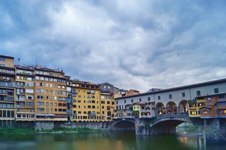 ponte: Ponte Vecchio bridge at evening, Florence, Italy