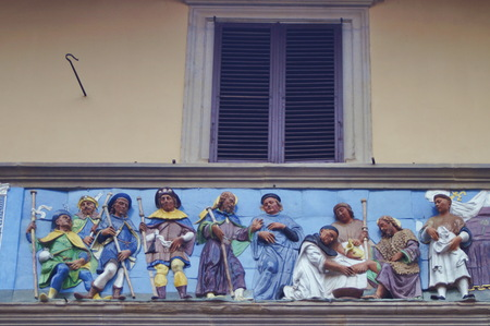 friso: Detail of portal frieze of the Ospedale del Ceppo, Pistoia, Italy