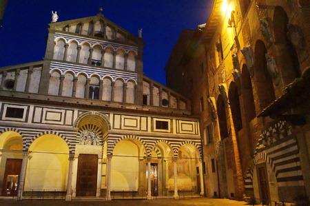 Cathedral of Saint Zeno at night, Pistoia, Italy Stock Photo