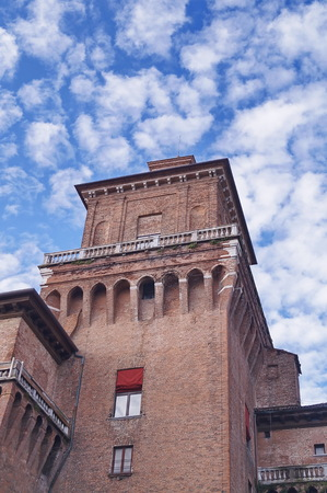 Detail of Este castle, Ferrara, Italy Editorial