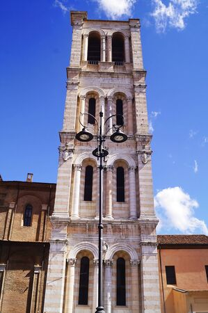 unfinished building: Bell tower of the Cathedral of Ferrara, Italy Stock Photo