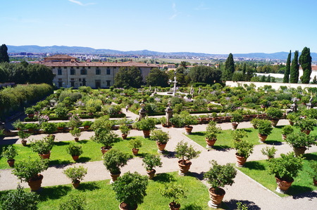 Italian garden of the Royal Villa of Castello, Florence, Italy Editorial