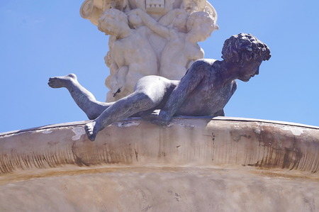 Detail of the fountain of Hercules and Anteo in the garden of Royal Villa of Castello, Florence, Italy
