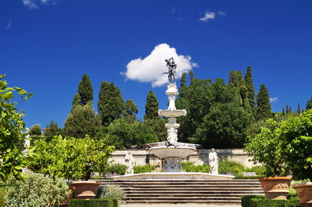 Fountain of Hercules and Anteo in the garden of Royal Villa of Castello, Florence, Italy