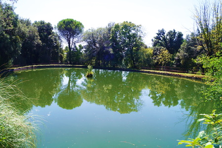 Lake in Villa Petraia park, Florence, Italy Stock Photo