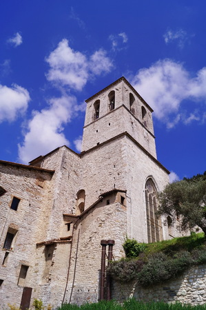 Bell tower of the Cathedral of Gubbio, Umbria, Italy
