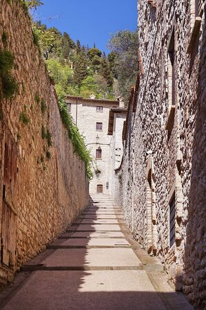 Typical street in the center of Gubbio, Umbria, Italy