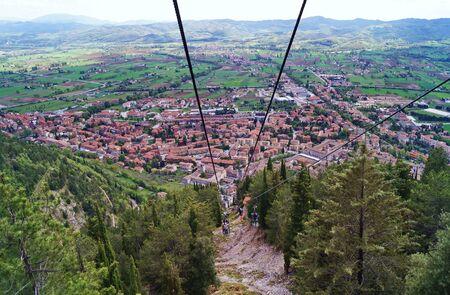 Colle Eletto Cable Car in Gubbio, Umbria, Italy Stock Photo