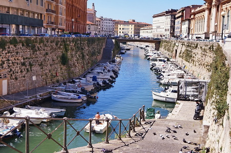 Canal in the center of Livorno, Tuscany, Italy Stock Photo - 83347825
