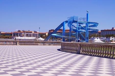 Terrace Mascagni, Livorno, Tuscany, Italy Stock Photo