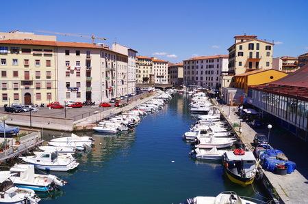 livorno: Canal in the center of Livorno, Tuscany, Italy