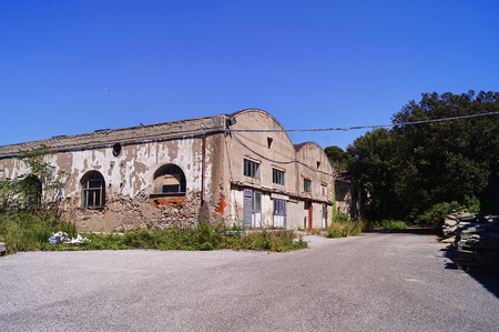 Abandoned buildings of the old dock, Livorno, Tuscany, Italy Editorial