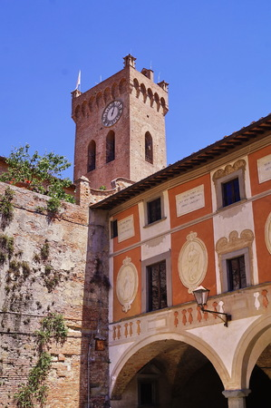 Episcopal seminary and the tower of Matilde, San Miniato, Tuscany, Italy Editorial