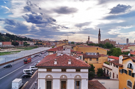 View of the river Arno from Zecca tower, Florence, Tuscany, Italy