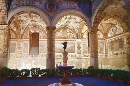 First courtyard of Michelozzo at night, Palazzo Vecchio, Florence, Italy