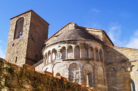 Apse and bell tower of the church of Gropina, Tuscany, Italy