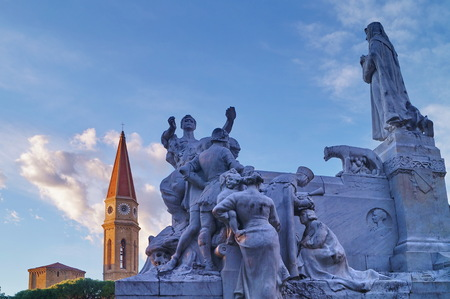 Monument to Francesco Petrarca at the Prato and Bell tower of the Cathedral, Arezzo, Tuscany, Italy
