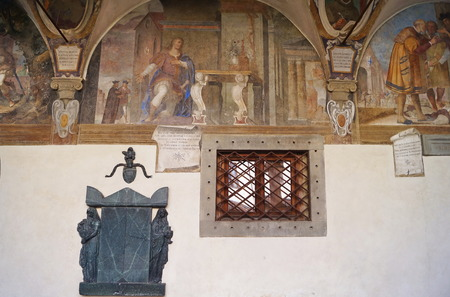 Frescoes in the cloister of the Cenacle of Ognissanti, Florence, Italy